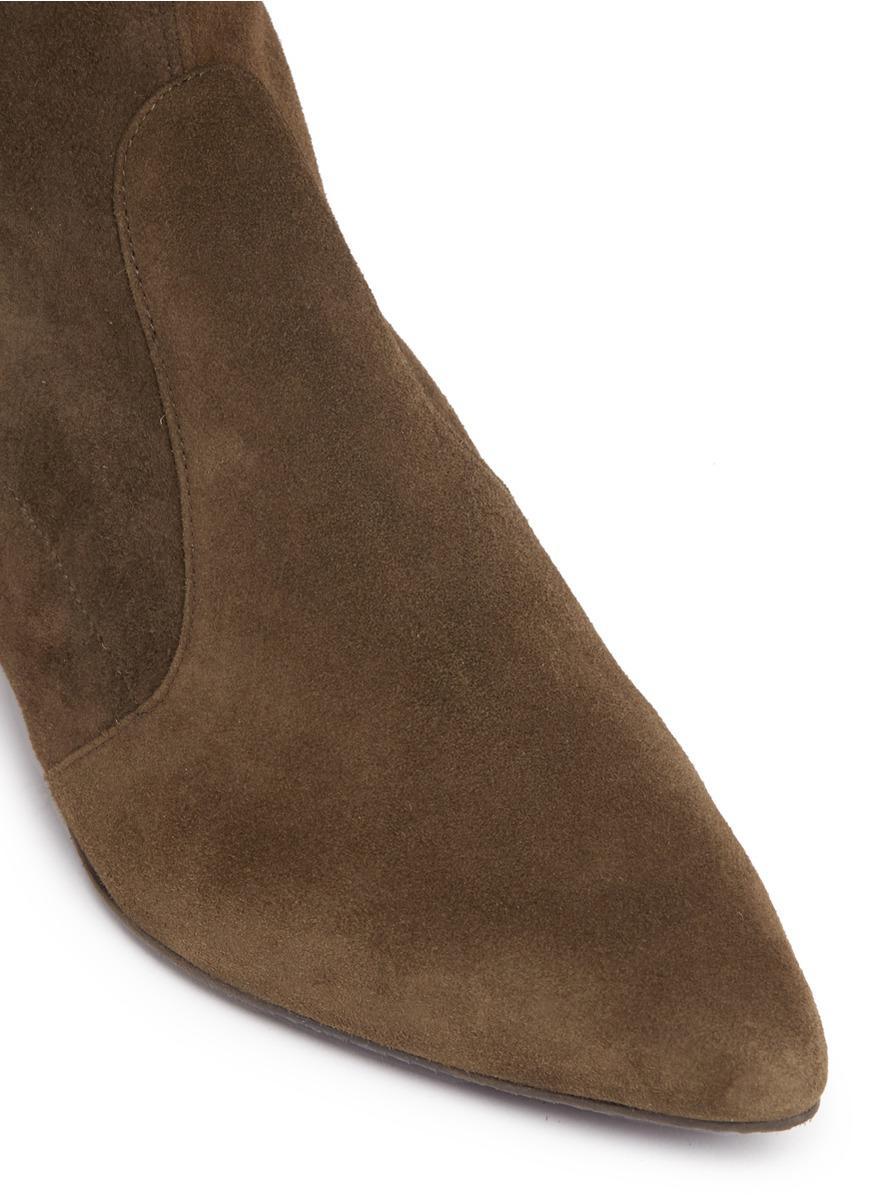 Stuart Weitzman Suede Tieland Over The Knee Boot (women) in Brown,Green (Brown)