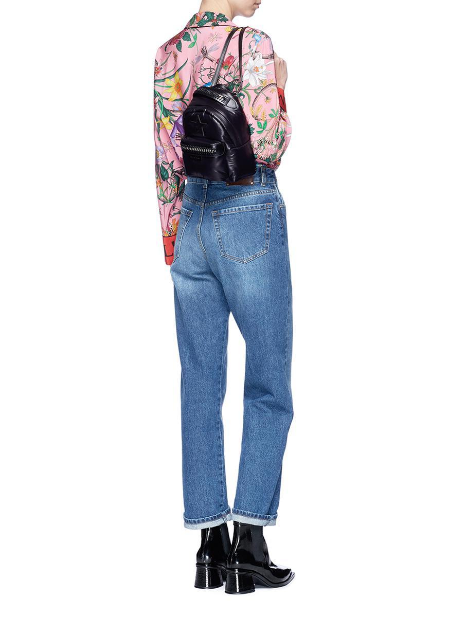 801f900edbbc9 Stella McCartney 'falabella Go' Star Patch Mini Backpack in Black - Lyst