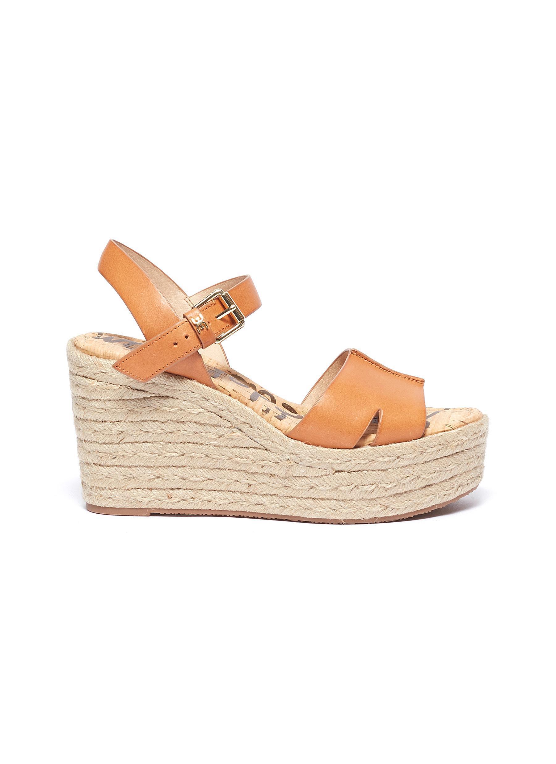 6065edf62fe Women's Brown 'maura' Leather Espadrille Wedge Sandals