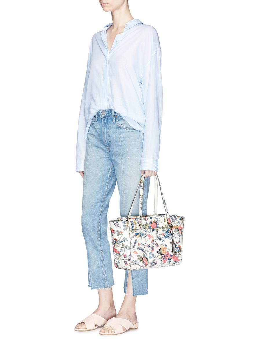 689bf1d90ae Lyst - Tory Burch  parker  Small Gabriella Floral Print Leather Tote