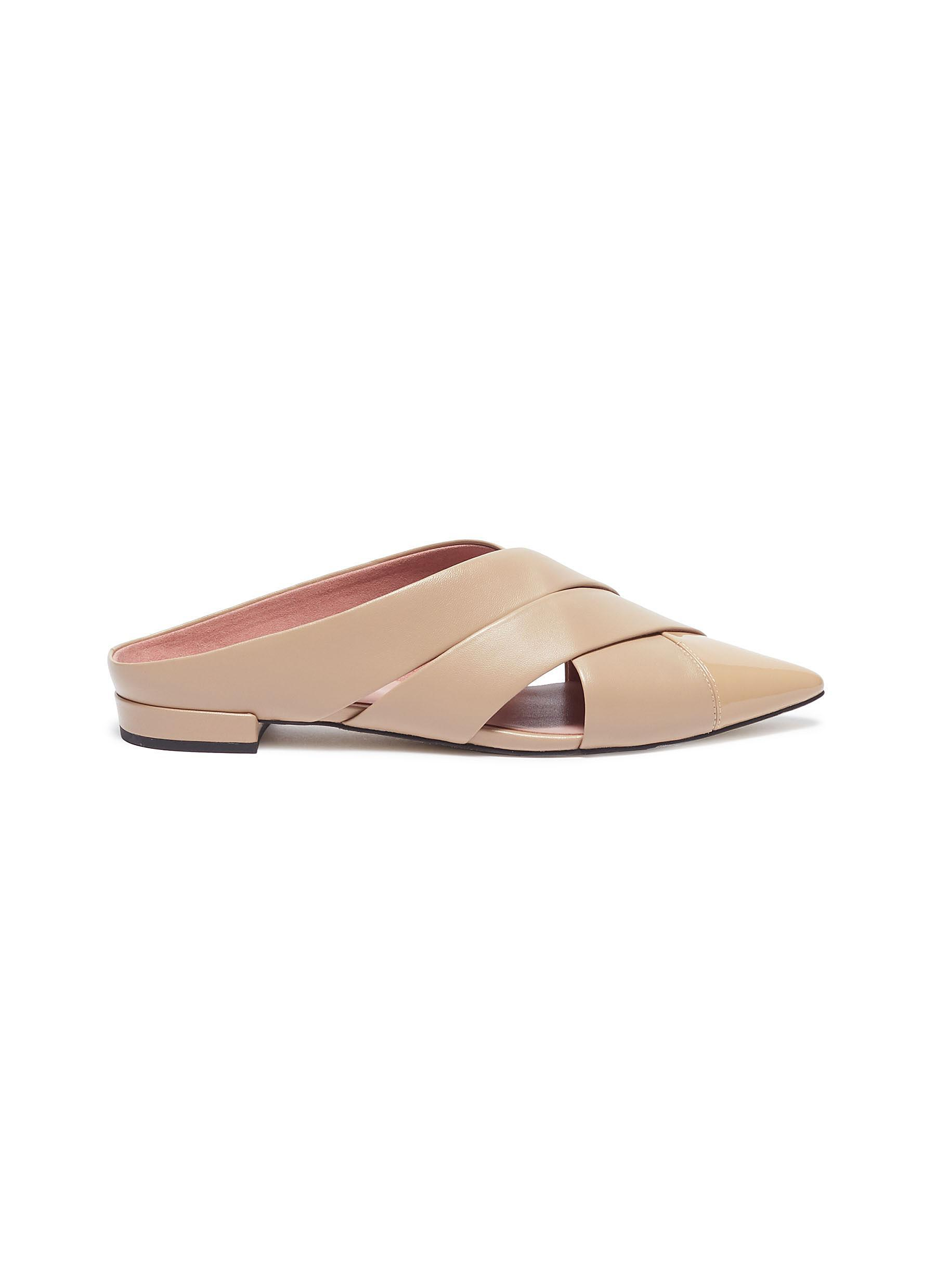 6213fb9a7 Lyst - Pedder Red 'willa' Cutout Cross Leather Slides in Natural