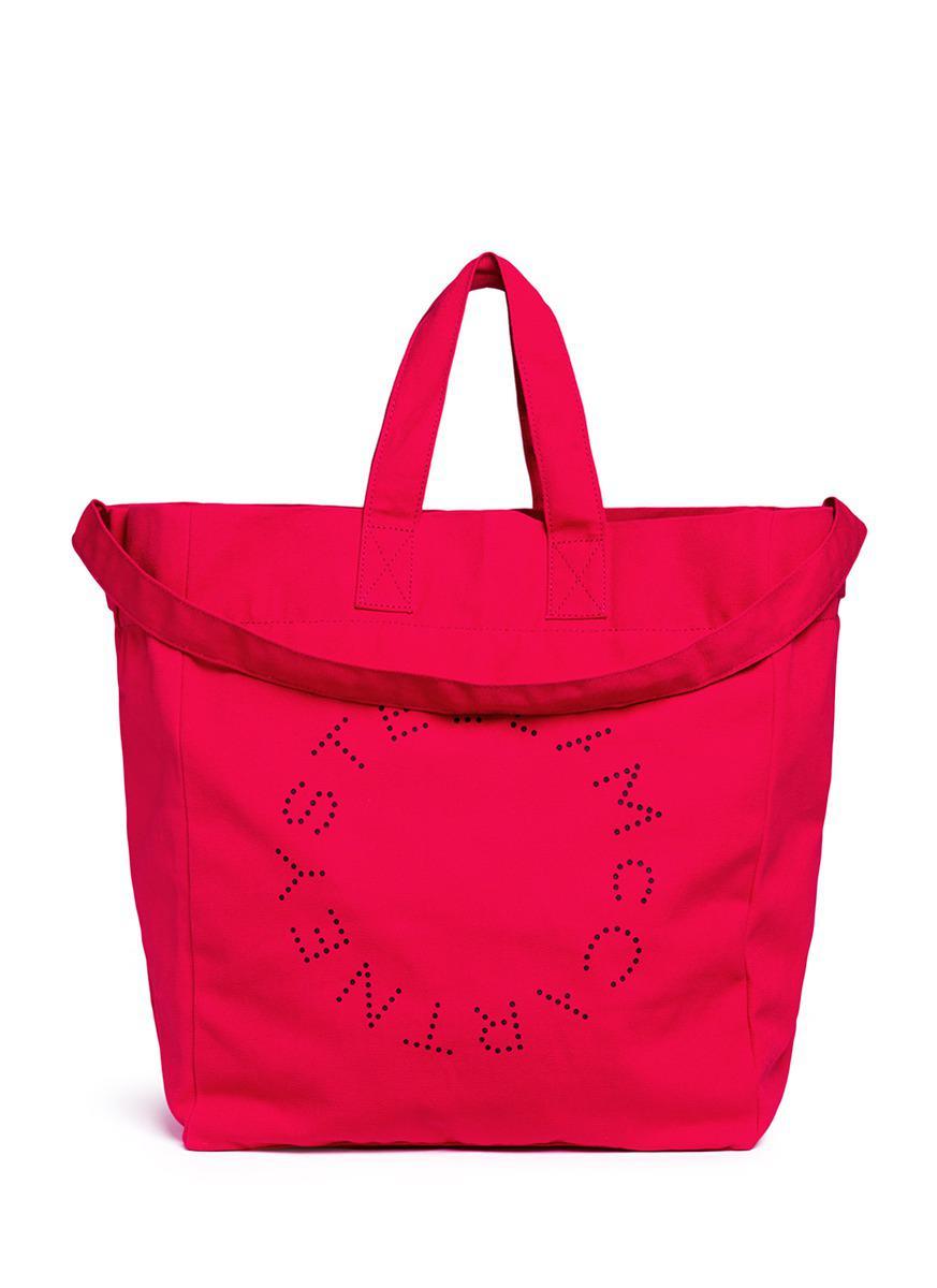 Stella McCartney Cotton Logo Printed Beach Tote Bag in Red