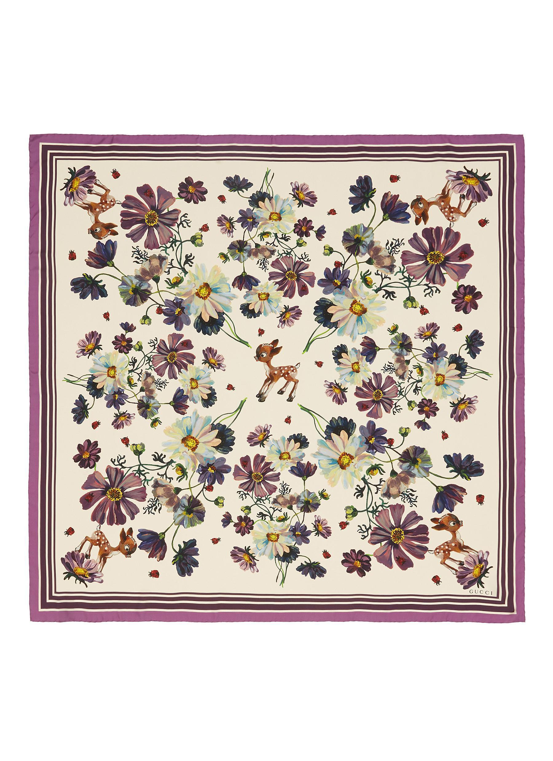 736b09e2ea Gucci Multicolor 'fawn Flowers' Print Silk Scarf