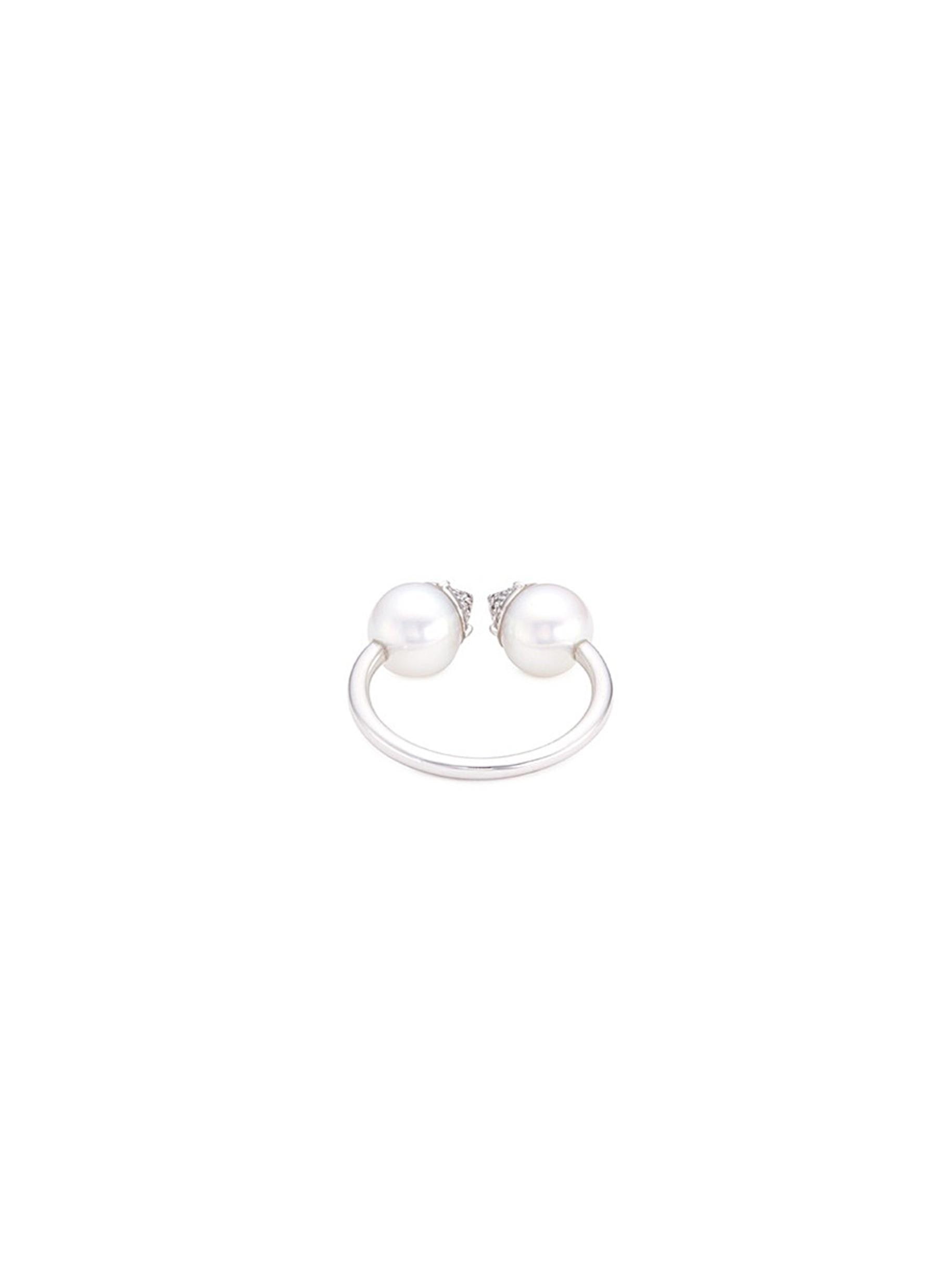 Tasaki 'refined Rebellion' Diamond Akoya Pearl 18k White Gold Ring in Metallic