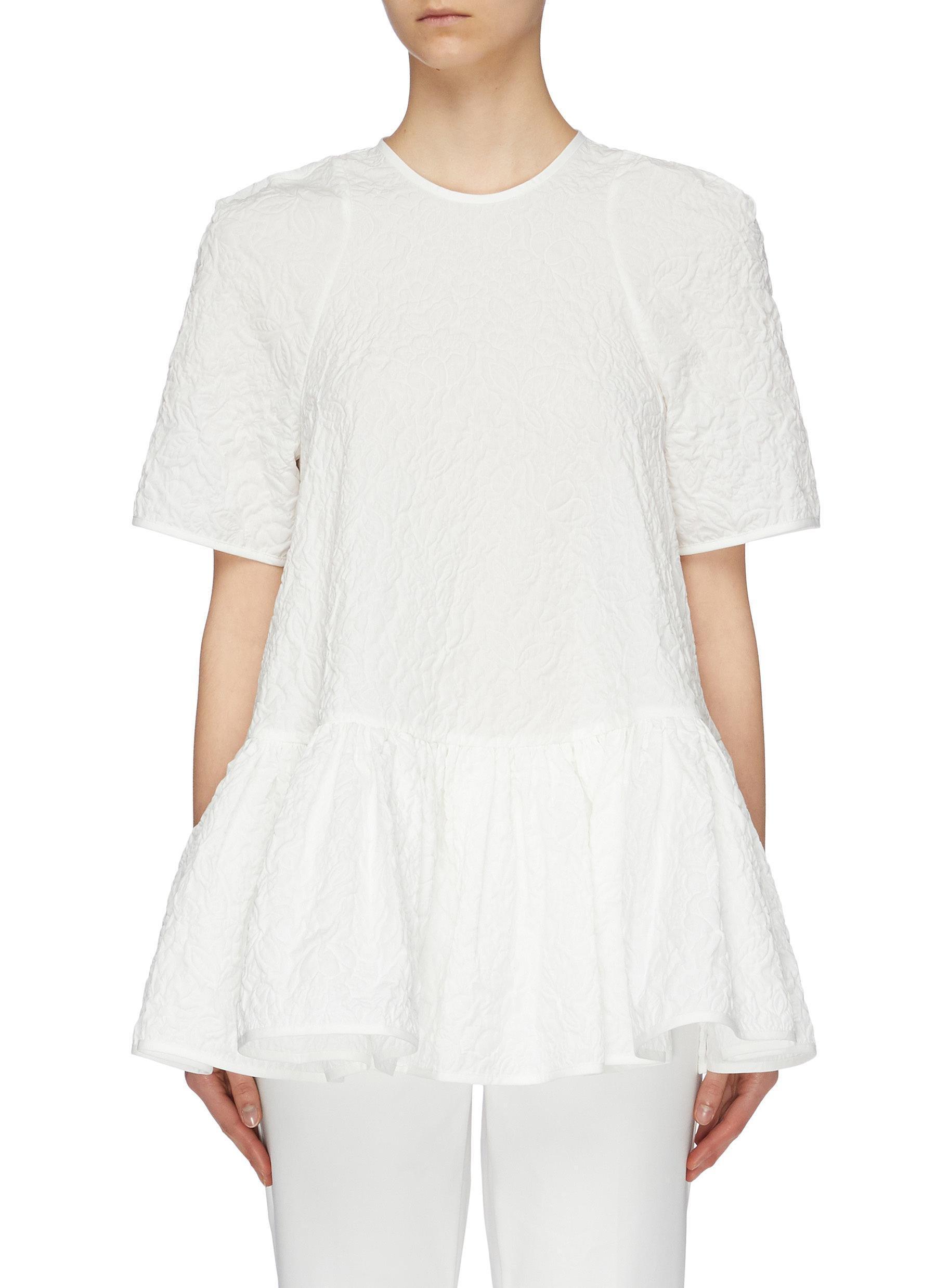 4c31de086ee917 Cecile Bahnsen. Women s White  susi  Tie Keyhole Back Brocade Peplum Top
