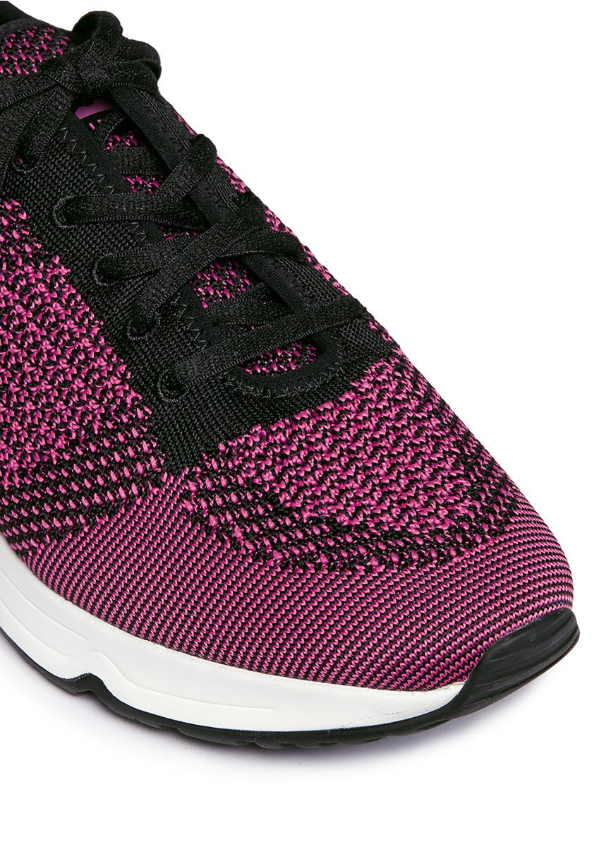 Ash Leather 'lucky' Mix Knit Sneakers in Purple