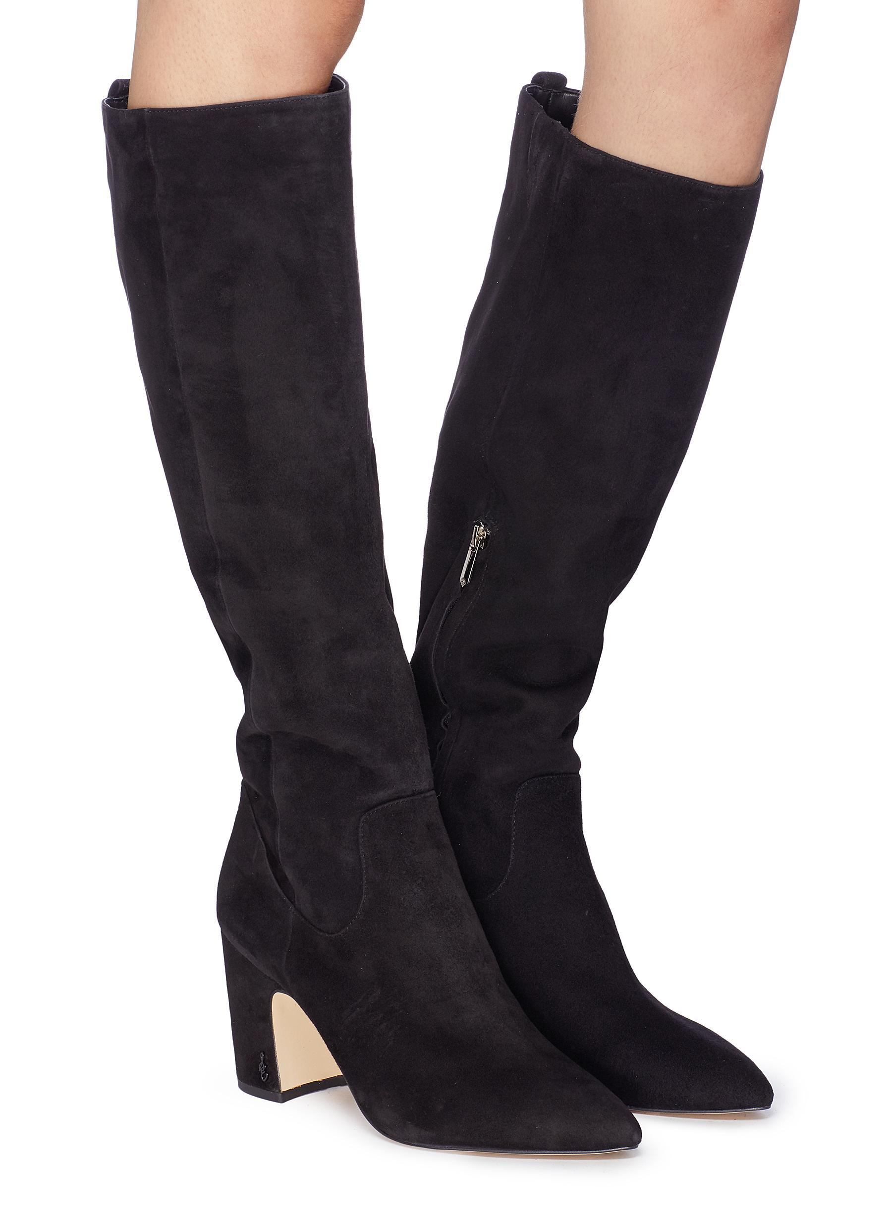 b661e7abc0aa5 Sam Edelman  hai  Stretch Suede Knee High Boots in Black - Lyst