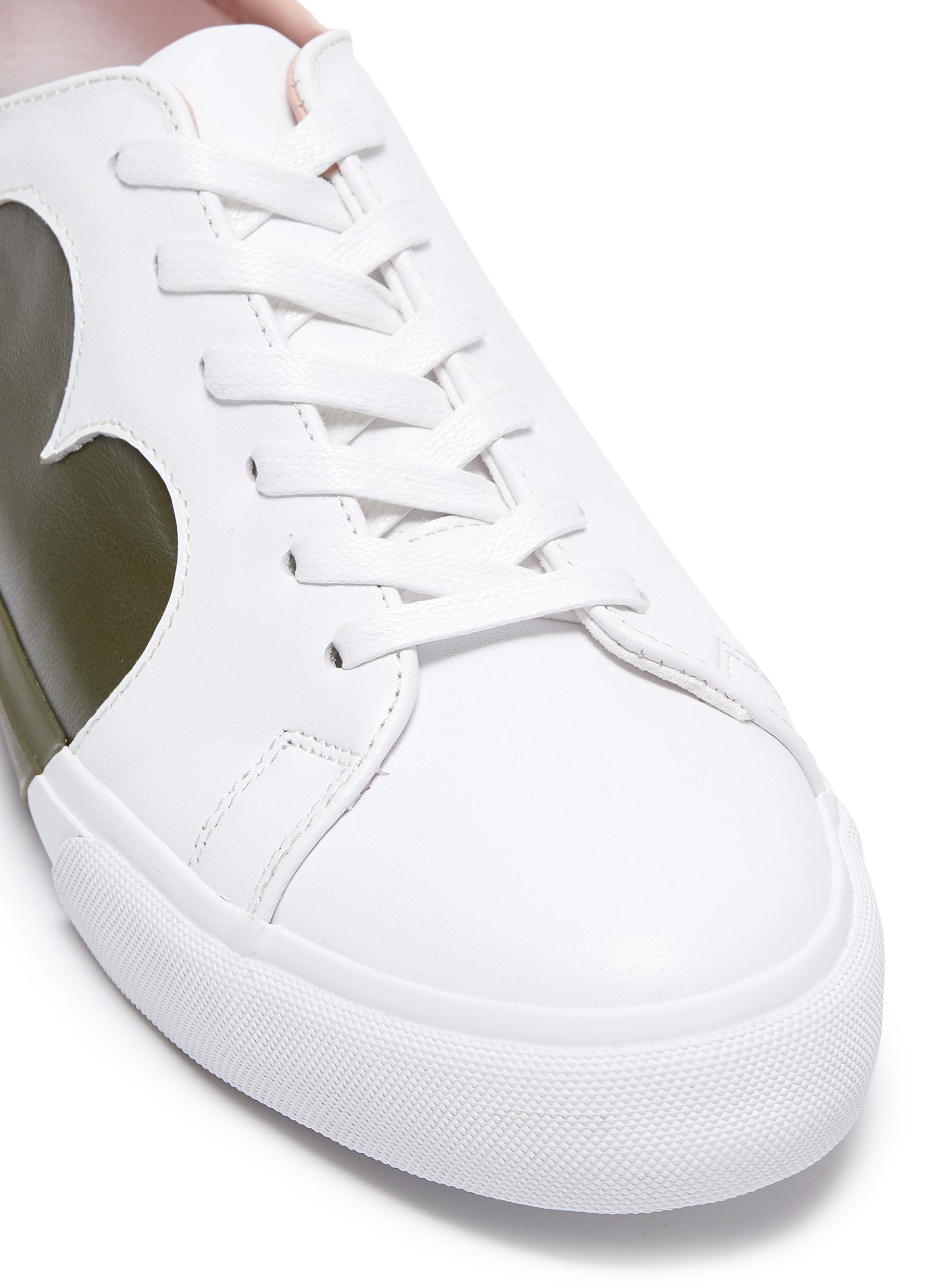 Pedder Red 'josie' Heart Reverse Appliqué Leather Sneakers in White