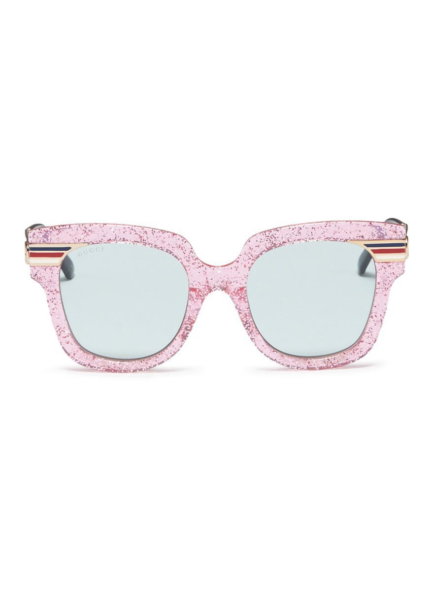 43301f464ce Lyst - Gucci Web Stripe Temple Glitter Acetate Square Sunglasses