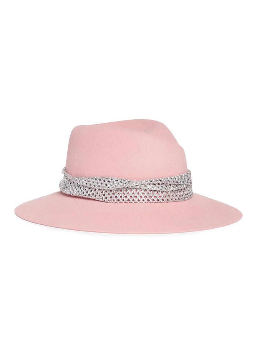 102dad86ac99e6 Lyst - Maison Michel 'virginie' Rabbit Furfelt Fedora Hat in Pink