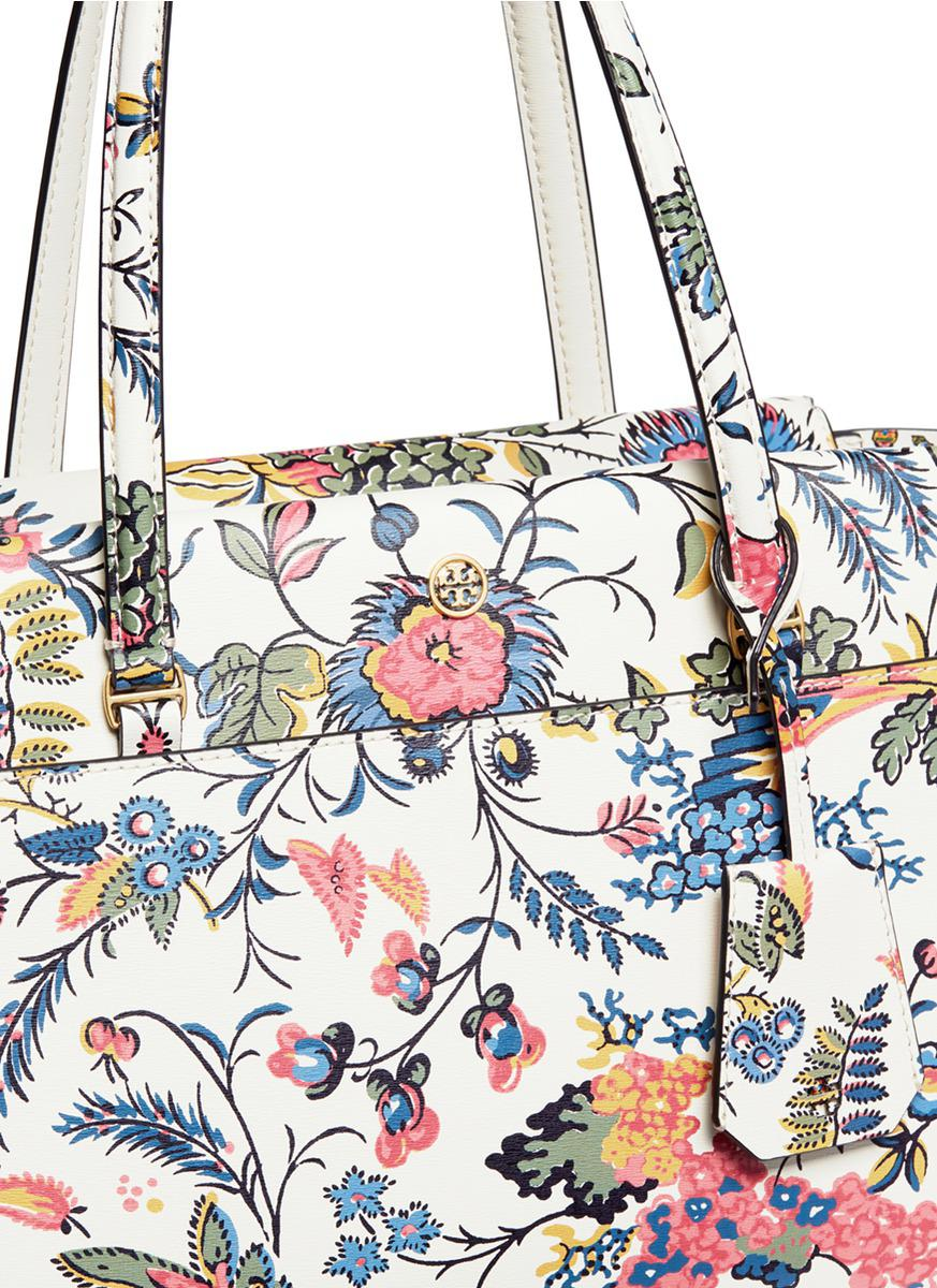 07457105107 Lyst - Tory Burch  parker  Small Gabriella Floral Print Leather Tote ...
