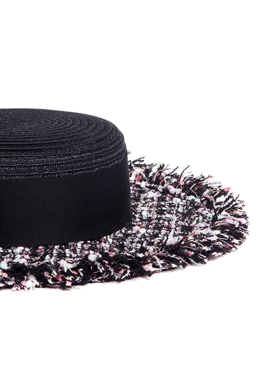 22a10c57 Eugenia Kim 'brigitte' Tweed Brim Boater Straw Hat in Black - Lyst