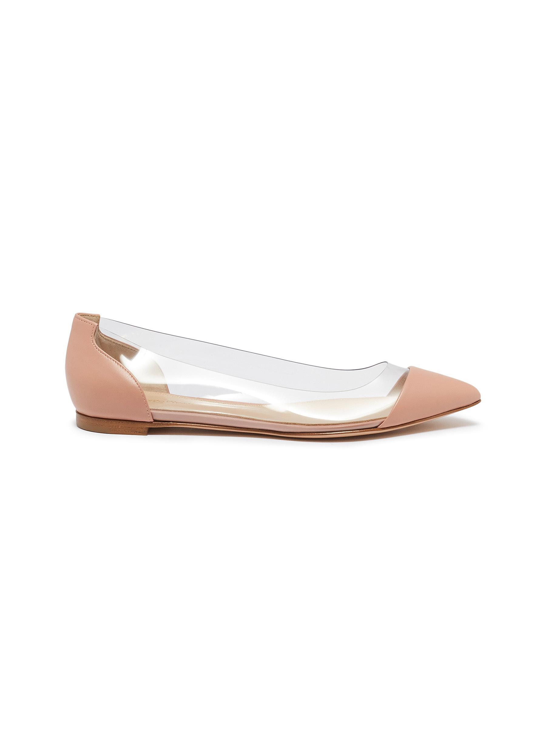 90a9787ab38 Gianvito Rossi  plexi  Clear Pvc Leather Flats in Pink - Save ...