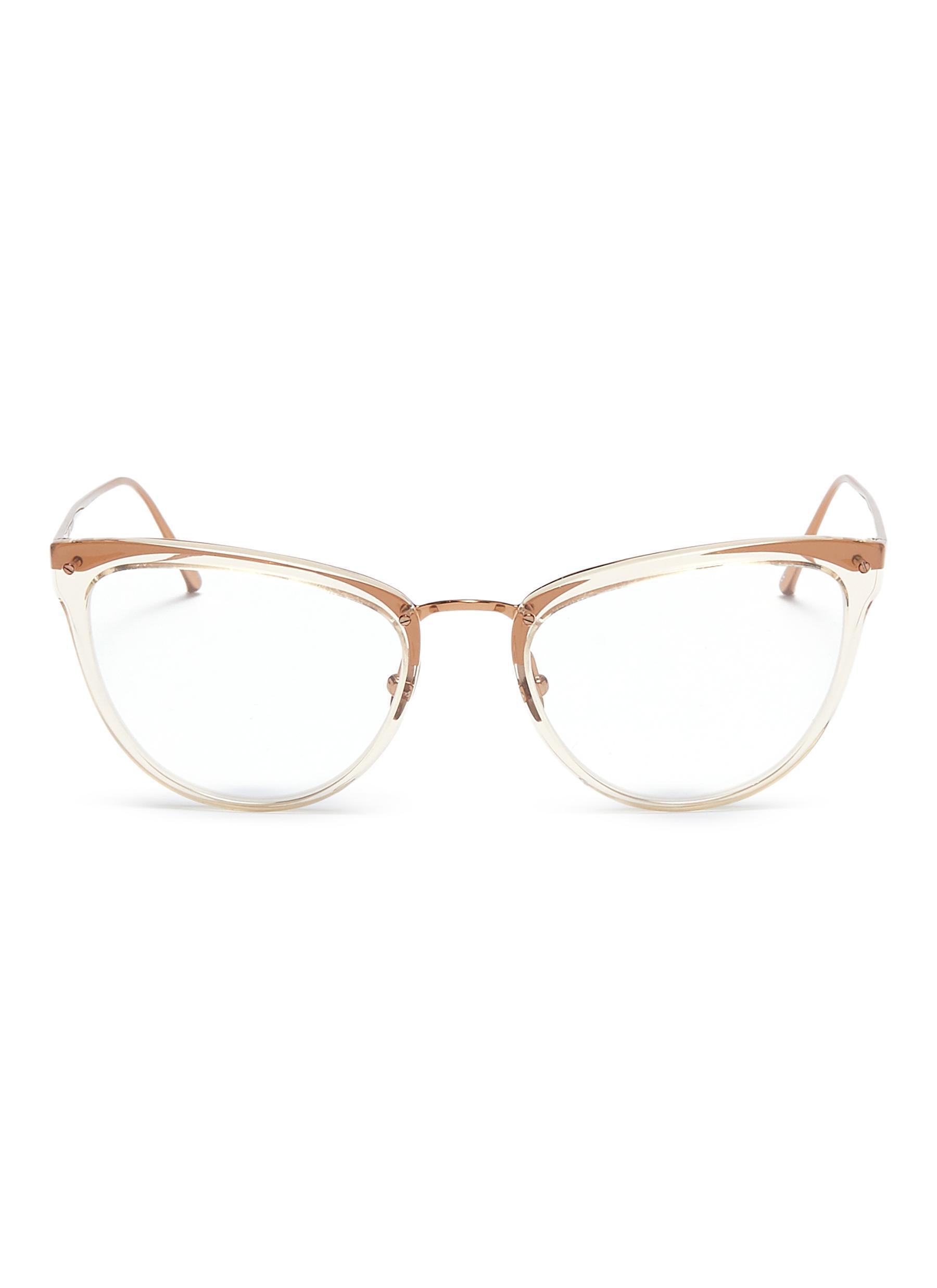 2292dce69ff Linda Farrow Acetate Front Metal Cat Eye Optical Glasses - Lyst