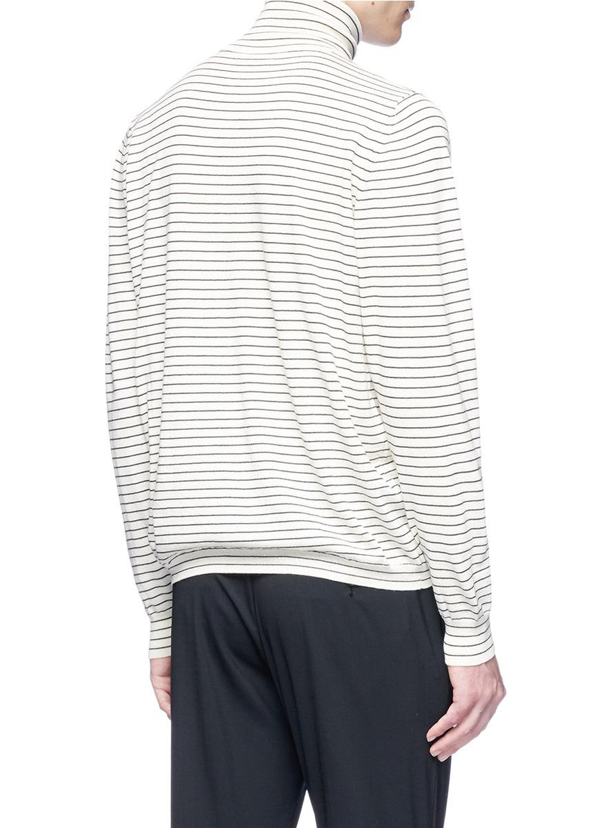 John Elliott Stripe Turtleneck Wool Sweater for Men
