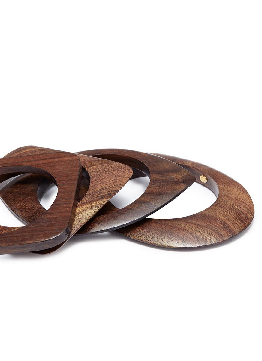 Kenneth Jay Lane Geometric Wood Bangles 4-piece Set in Brown