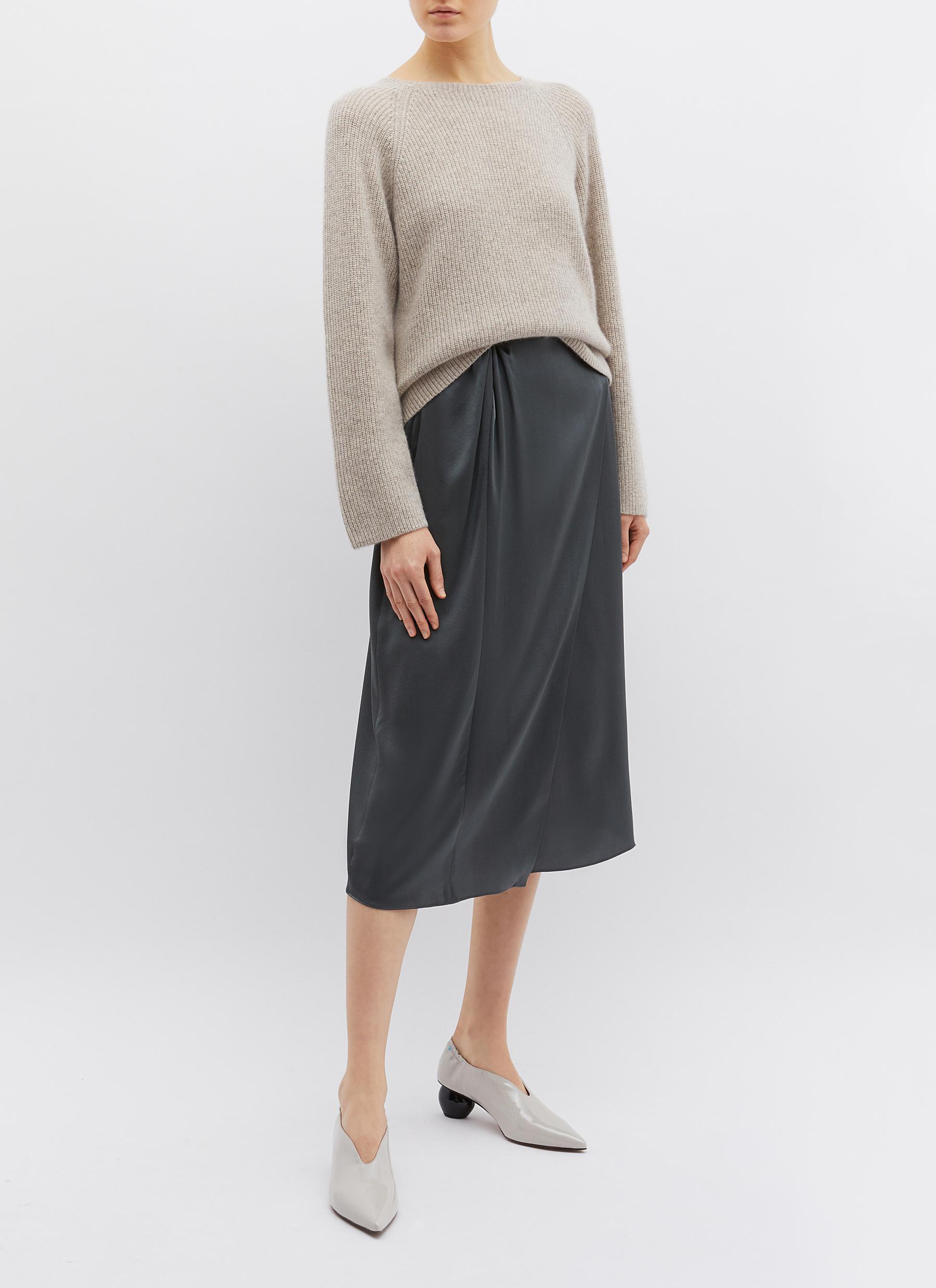 Vince Knot Waist Mock Wrap Silk Satin Skirt In Black For