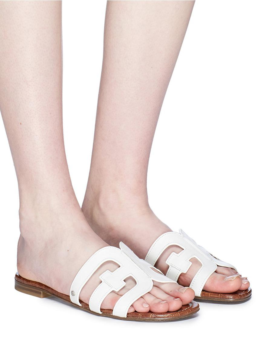 cca0924f4fae Lyst - Sam Edelman  bay  Leather Slide Sandals in White