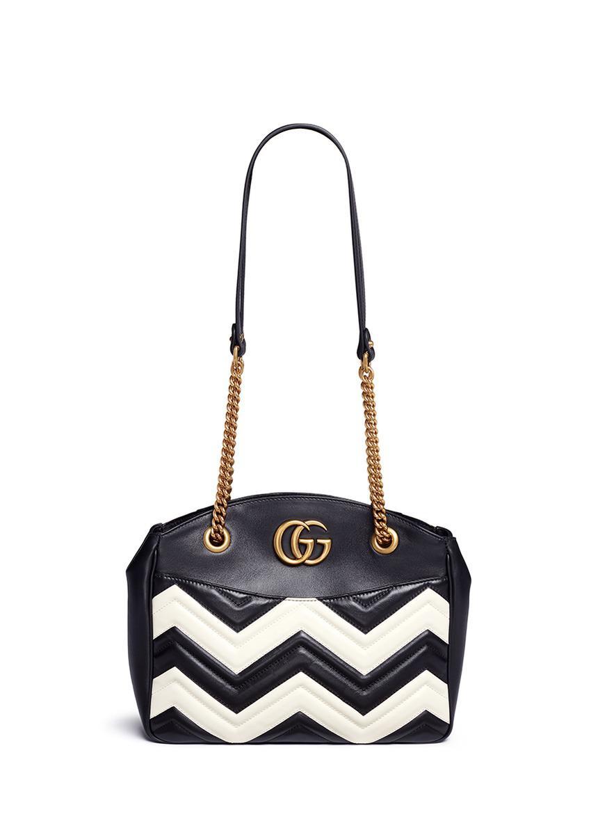 1d881cf83b6 Lyst - Gucci  gg Marmont  Medium Matelassé Chevron Leather Shoulder Bag