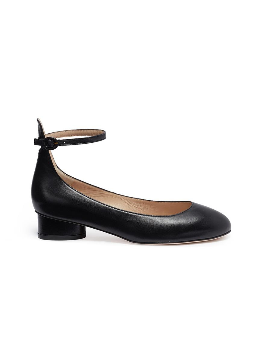 3f5772e42cb Lyst - Stuart Weitzman  polly  Ankle Strap Leather Ballet Pumps in Black