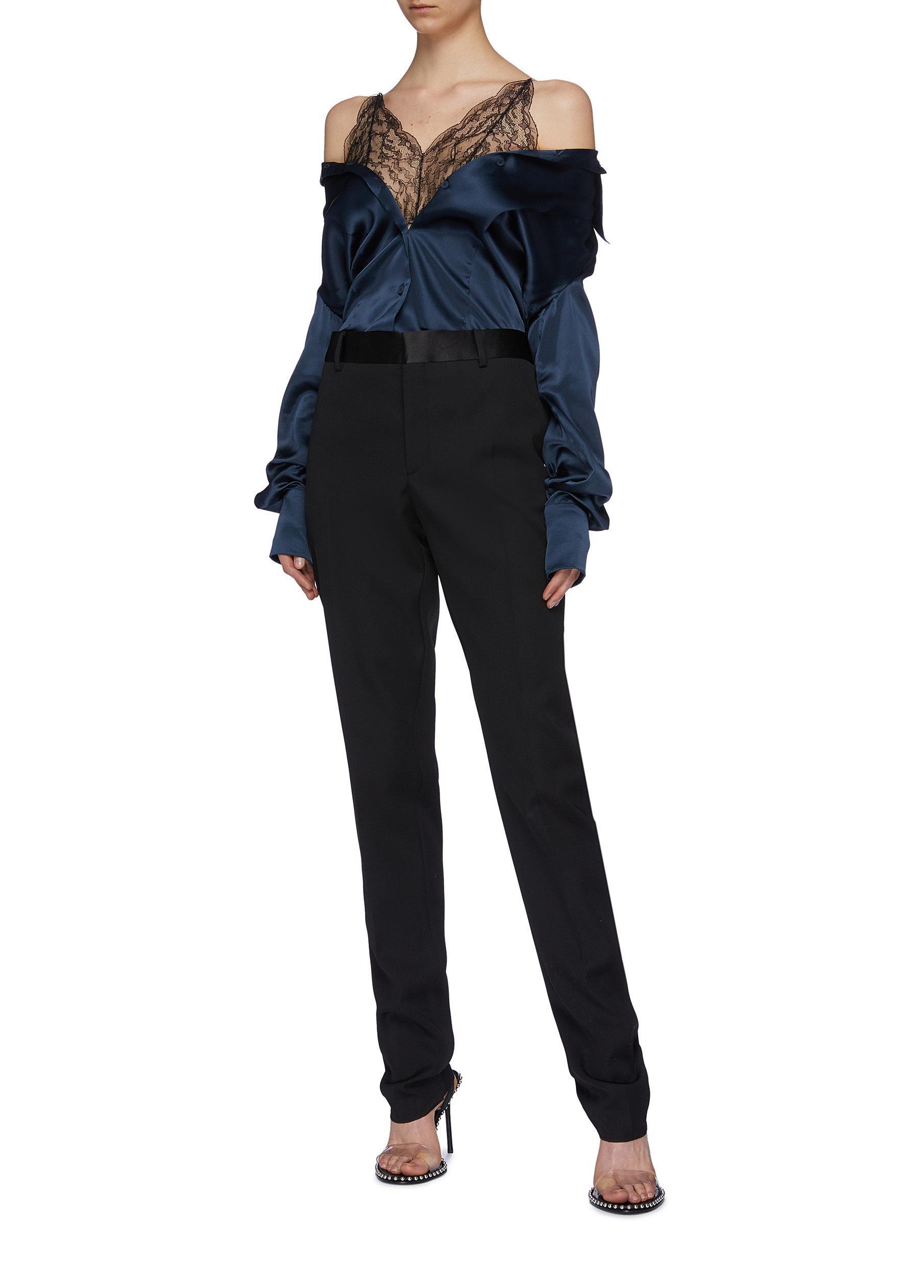 c98510634c7ba Maison Margiela - Blue Chantilly Lace Camisole Panel Off-shoulder Silk  Satin Shirt for Men. View fullscreen