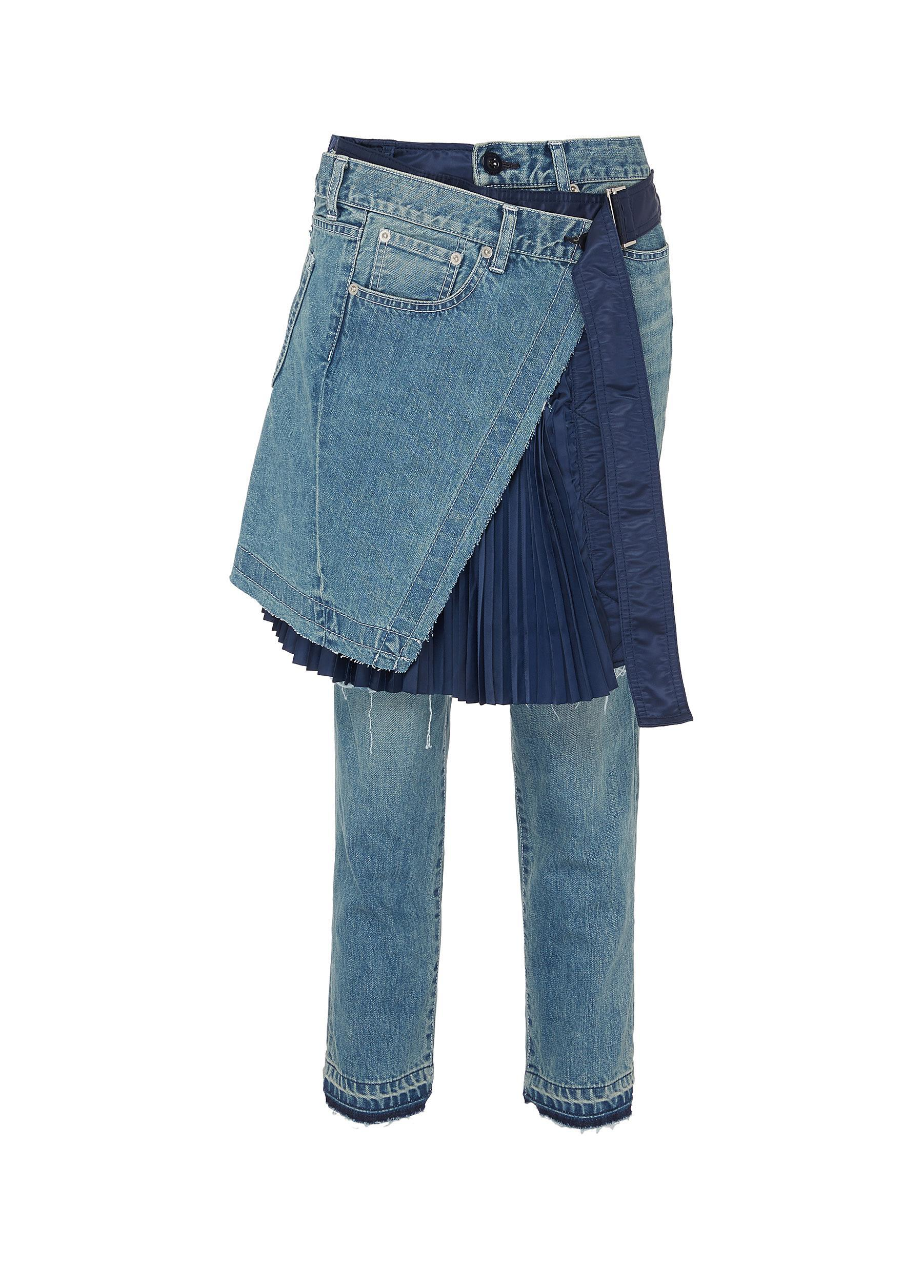 Sacai Denim Pleated Skirt & Jeans Combo in Blue