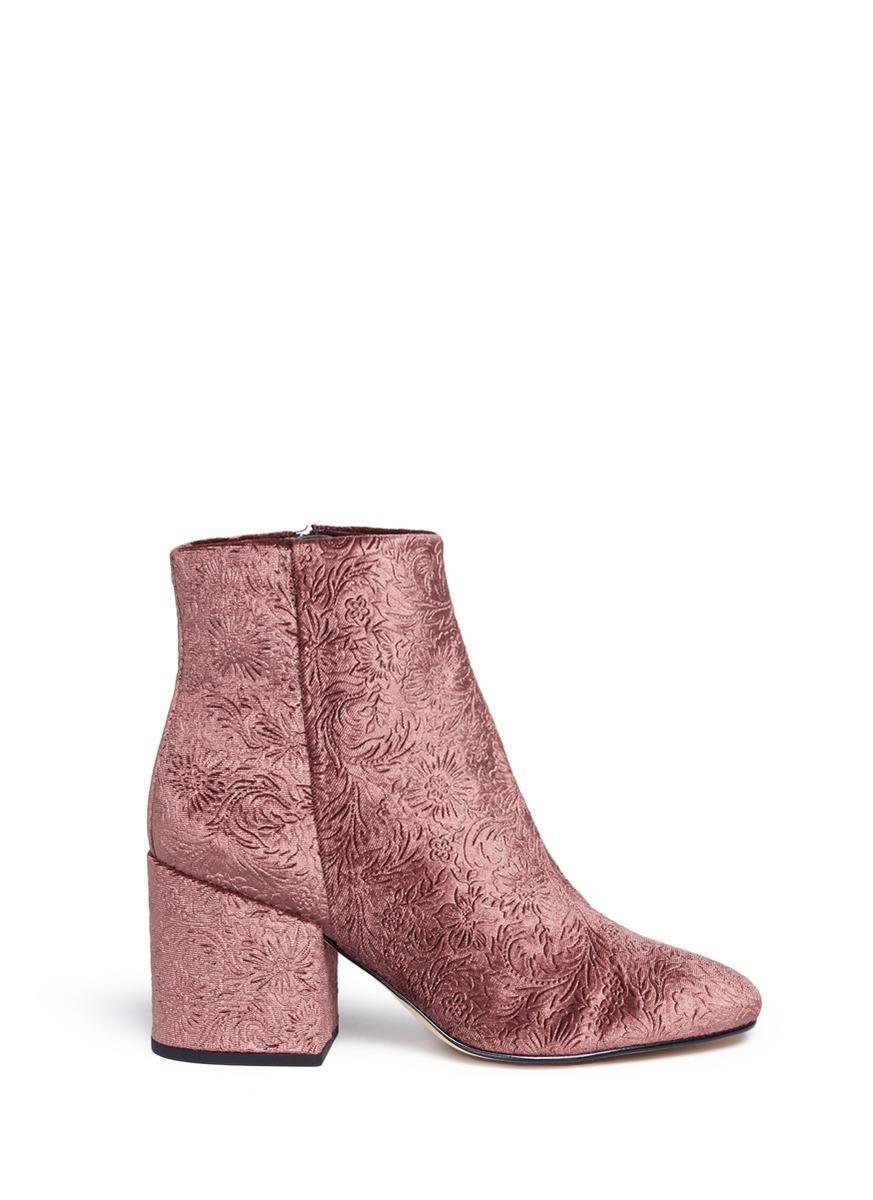 746a031f4a0b17 Lyst - Sam Edelman  taye  Floral Jacquard Velvet Ankle Boots