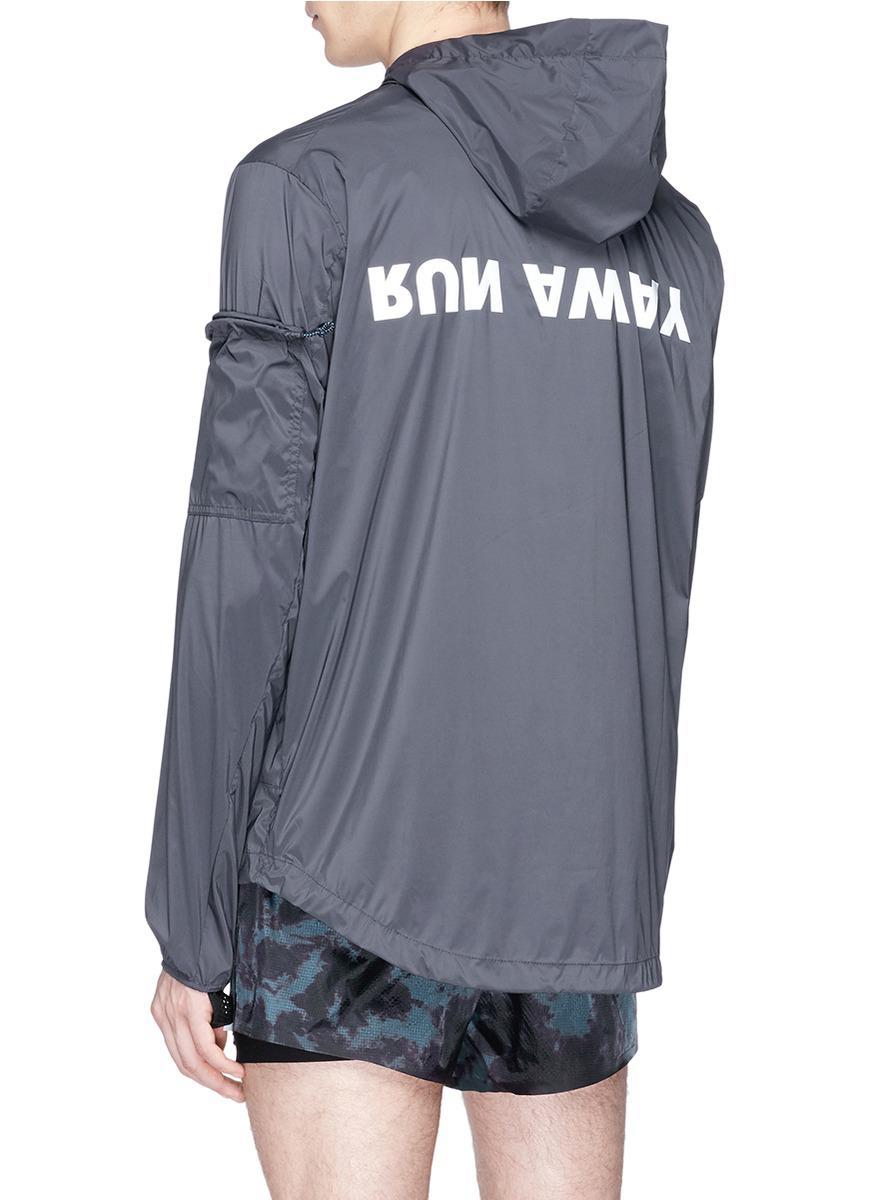 Satisfy Synthetic 'run Away' Print Packable Windbreaker Jacket in Blue for Men