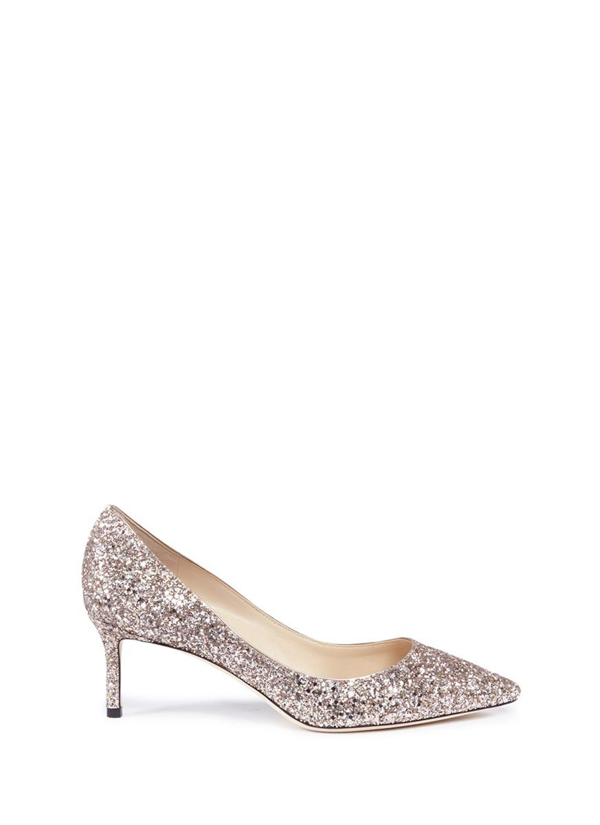 09defb53141 Lyst - Jimmy Choo  romy 60  Coarse Glitter Pumps in Metallic