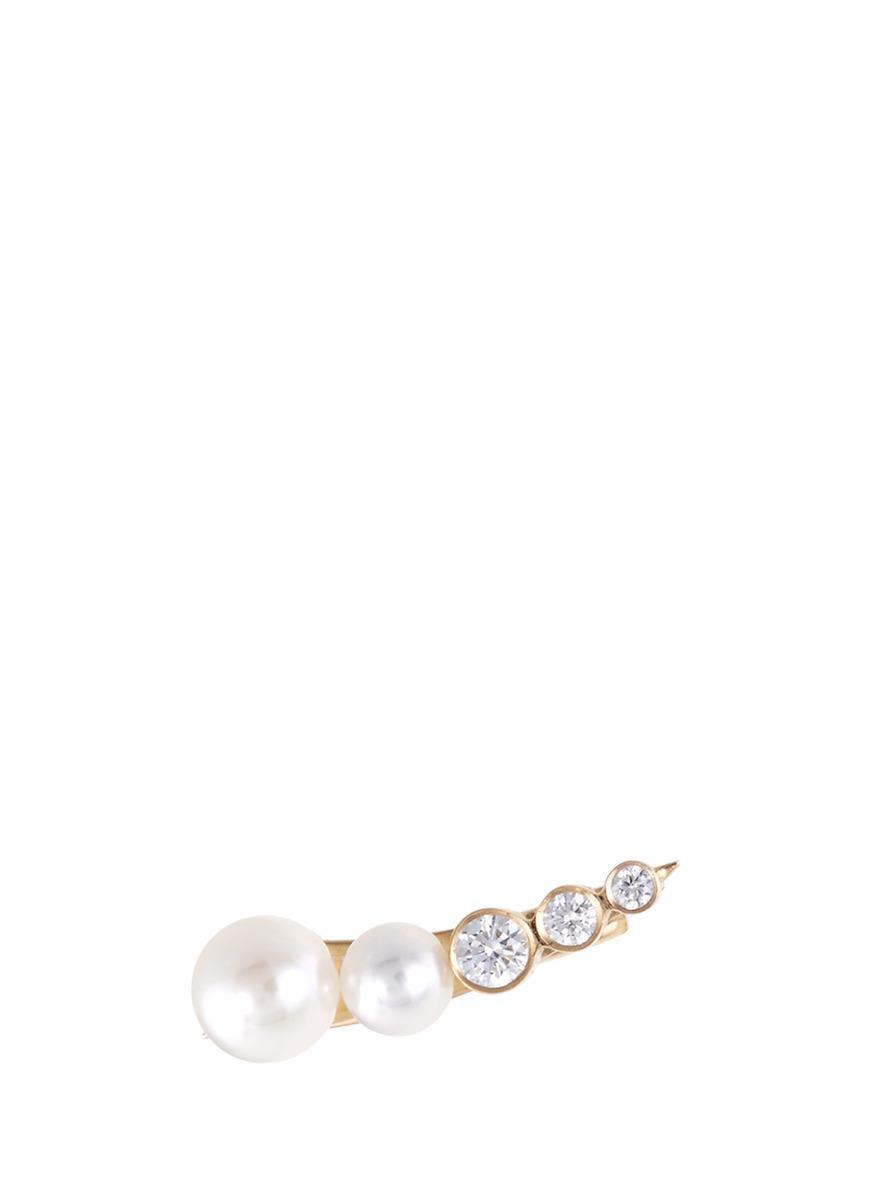 5a4ac361dccf1 Sophie Bille Brahe 'petite Croissant Perle' Diamond Akoya Pearl ...