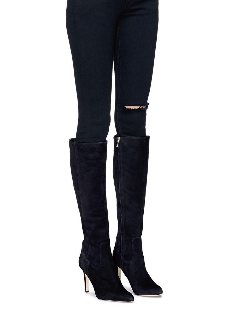 ecc20265cfb98a Lyst - Sam Edelman  olencia  Suede Knee High Boots in Black