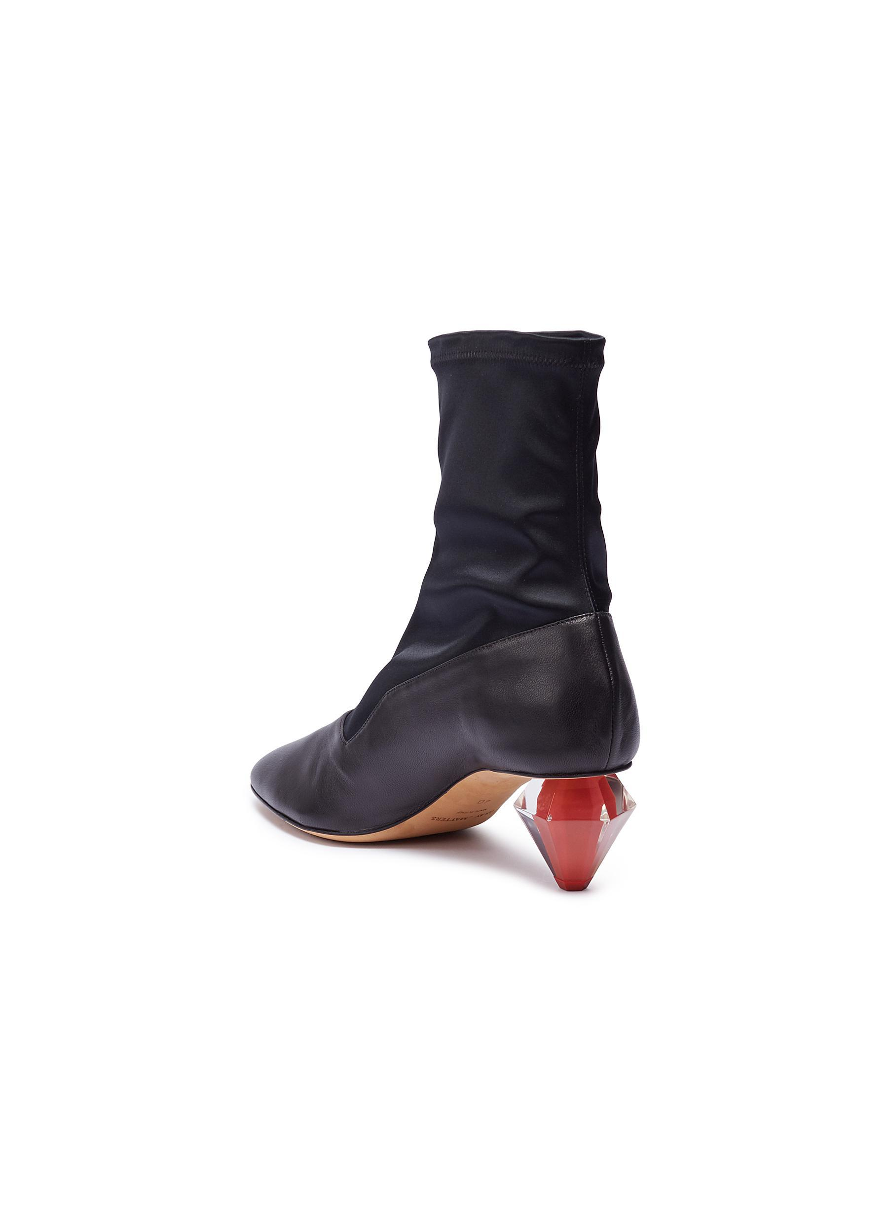 Gray Matters 'diamante' Geometric Heel Satin Panel Leather Boots in Black