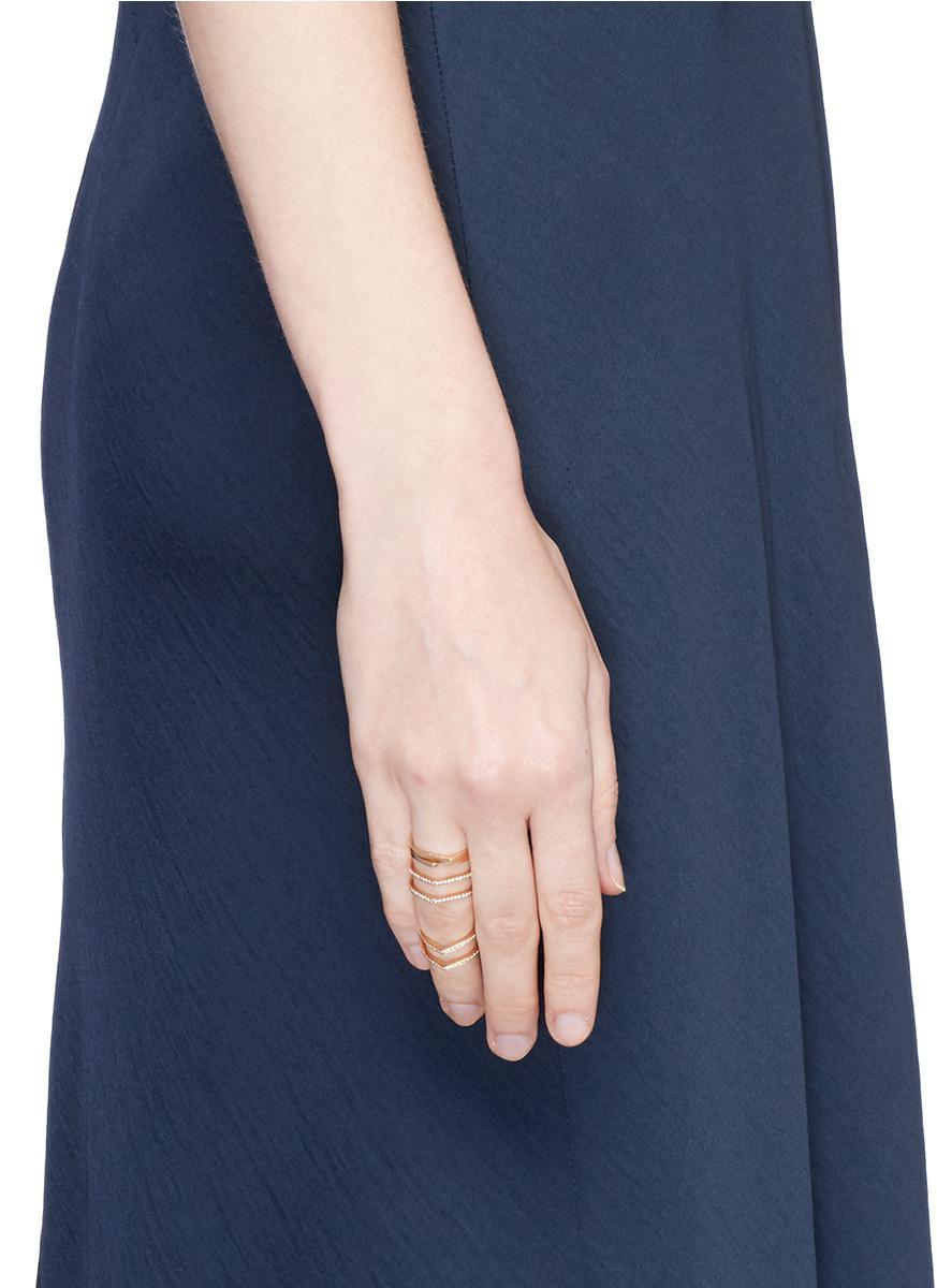 Repossi 'antifer' Diamond Pavé 18k Rose Gold Six Row Linked Ring in Metallic for Men