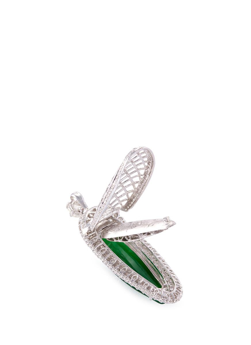 LC COLLECTION Diamond Jade 18k White Gold Pendant in Metallic