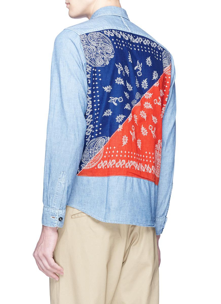 FDMTL Cotton Bandana Back Panel Chambray Shirt in Blue for Men