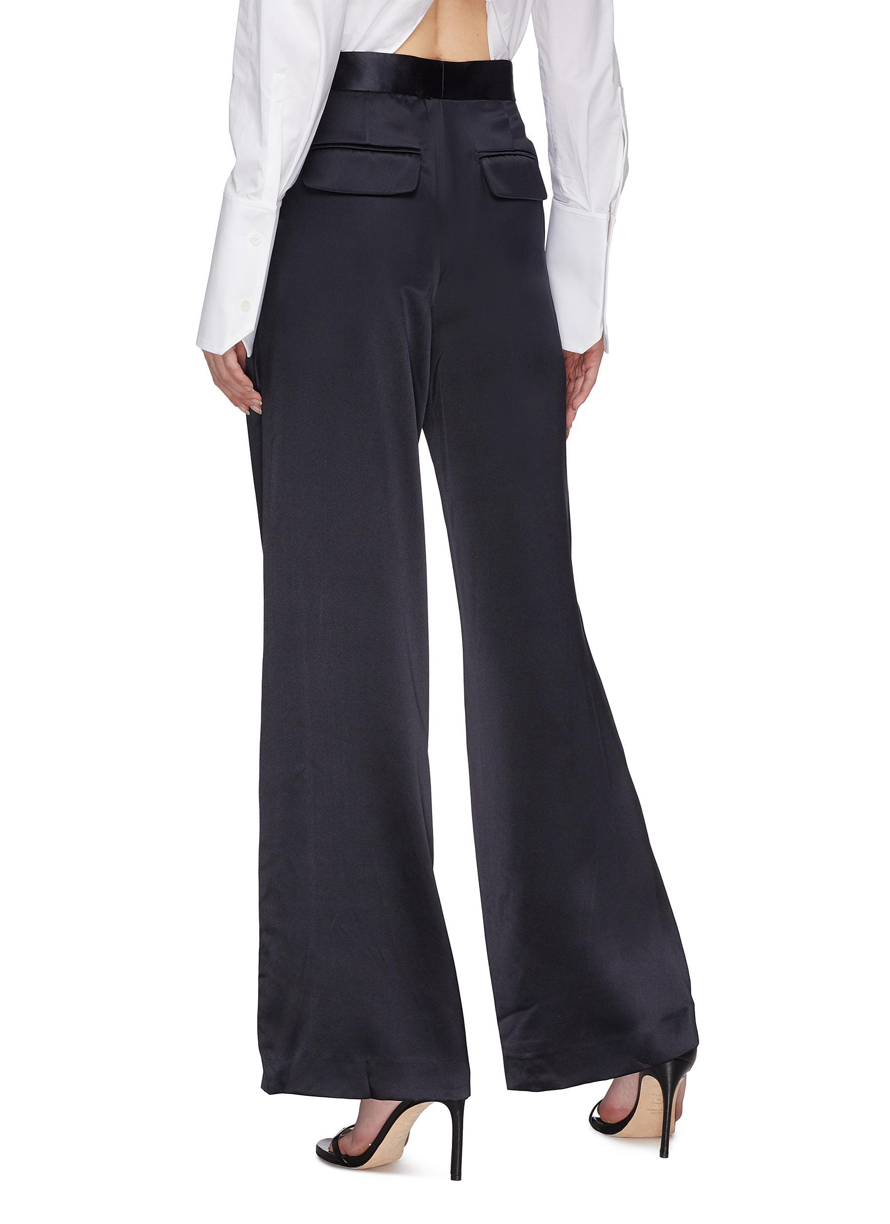 377af38689 Dion Lee Blue Foldover Pocket Mulberry Silk Satin Wide Leg Pants
