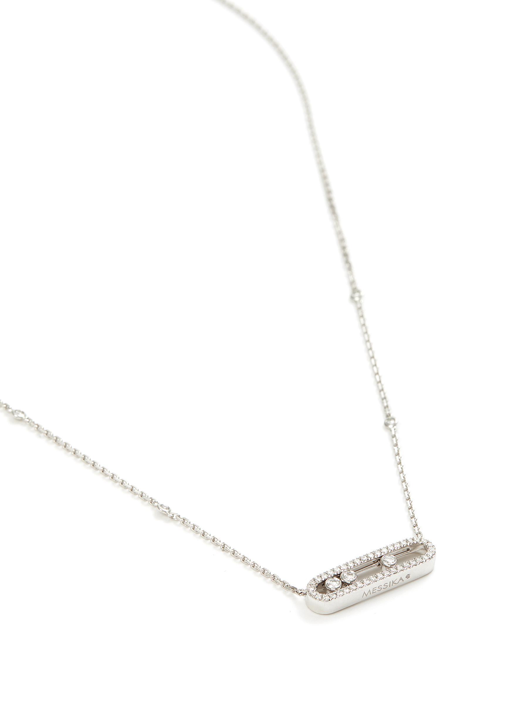 Messika 'baby Move Pavé' Diamond 18k White Gold Necklace in Metallic
