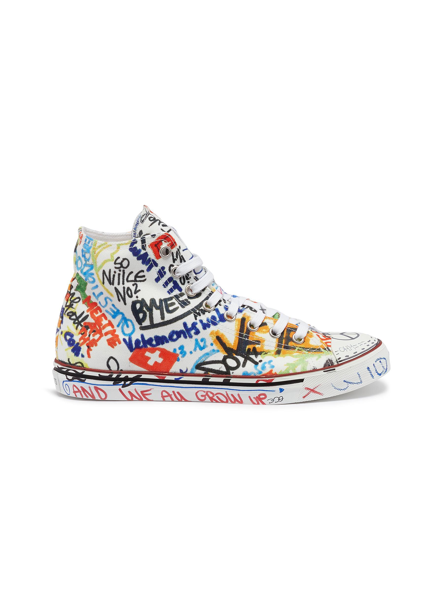 Lyst - Vetements Graffiti Print Canvas High Top Sneakers for Men bcba20f27