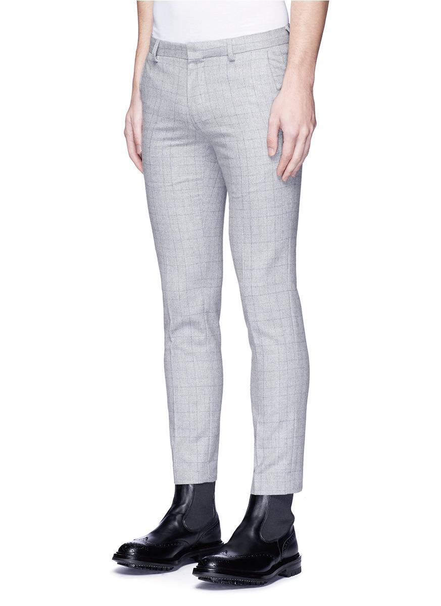 TOPMAN Wool Glen Plaid Skinny Fit Pants in Grey (Grey) for Men