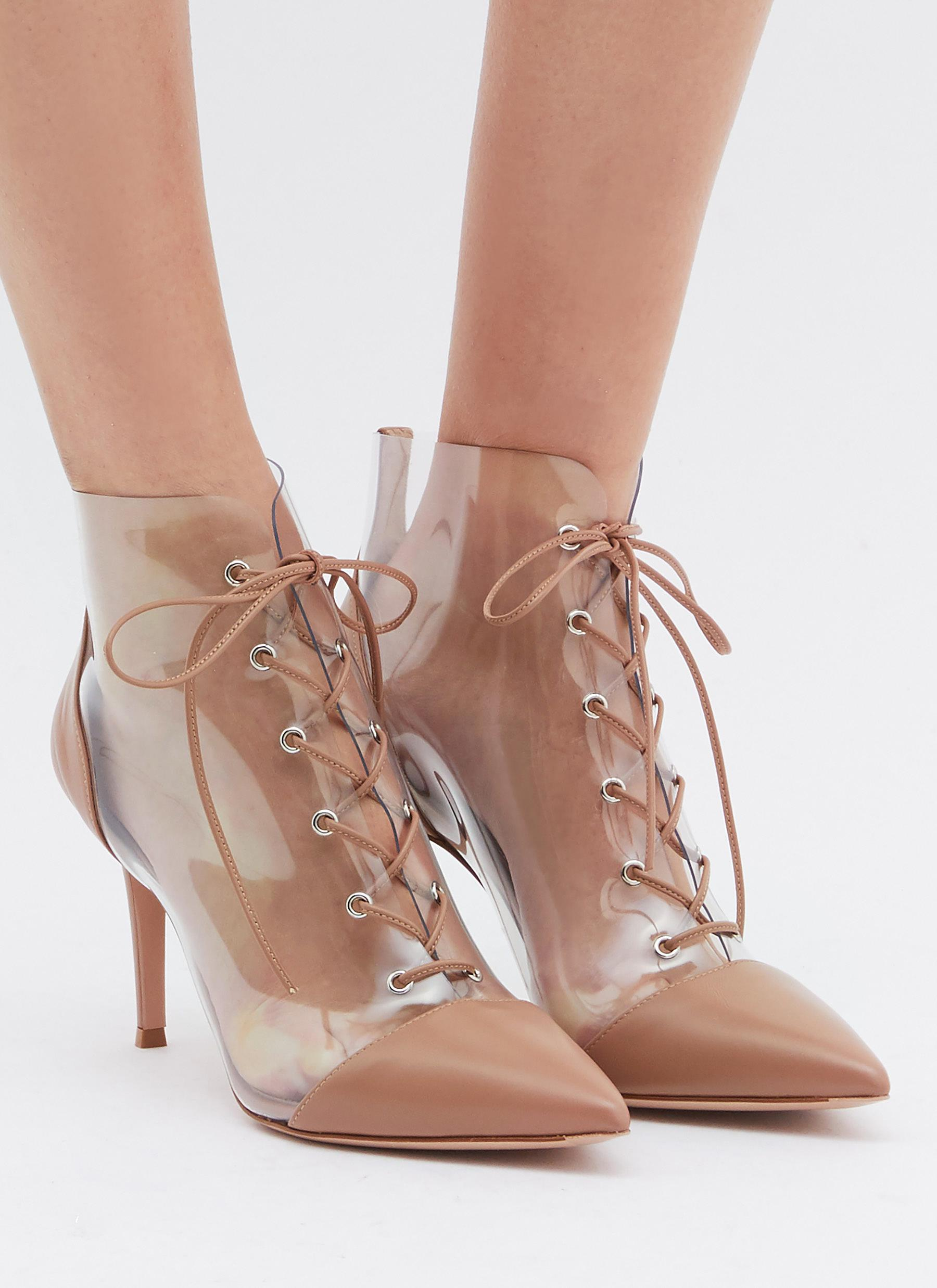 e7e1c4382e3 Gianvito Rossi - Pink  icon  Lace-up Clear Pvc Leather Ankle Boots -. View  fullscreen