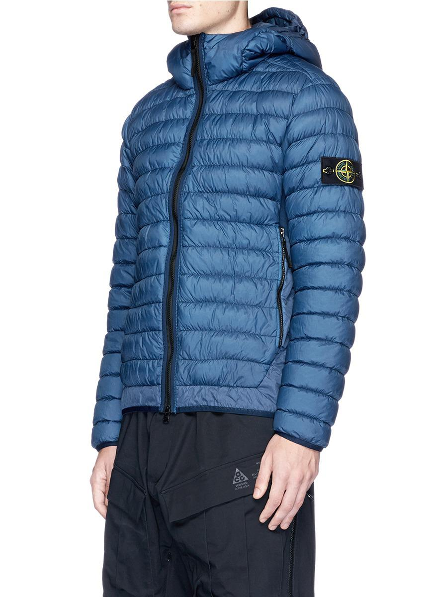 Stone Island Garment Dyed Down Puffer Jacket In Blue For