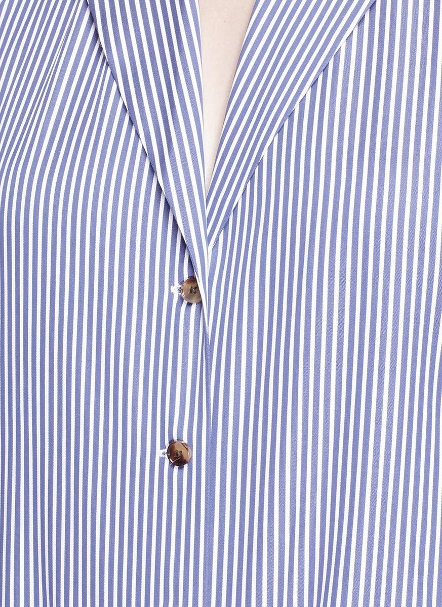 Khaite 'faye' Halterneck Cotton Shirting Vest in Blue