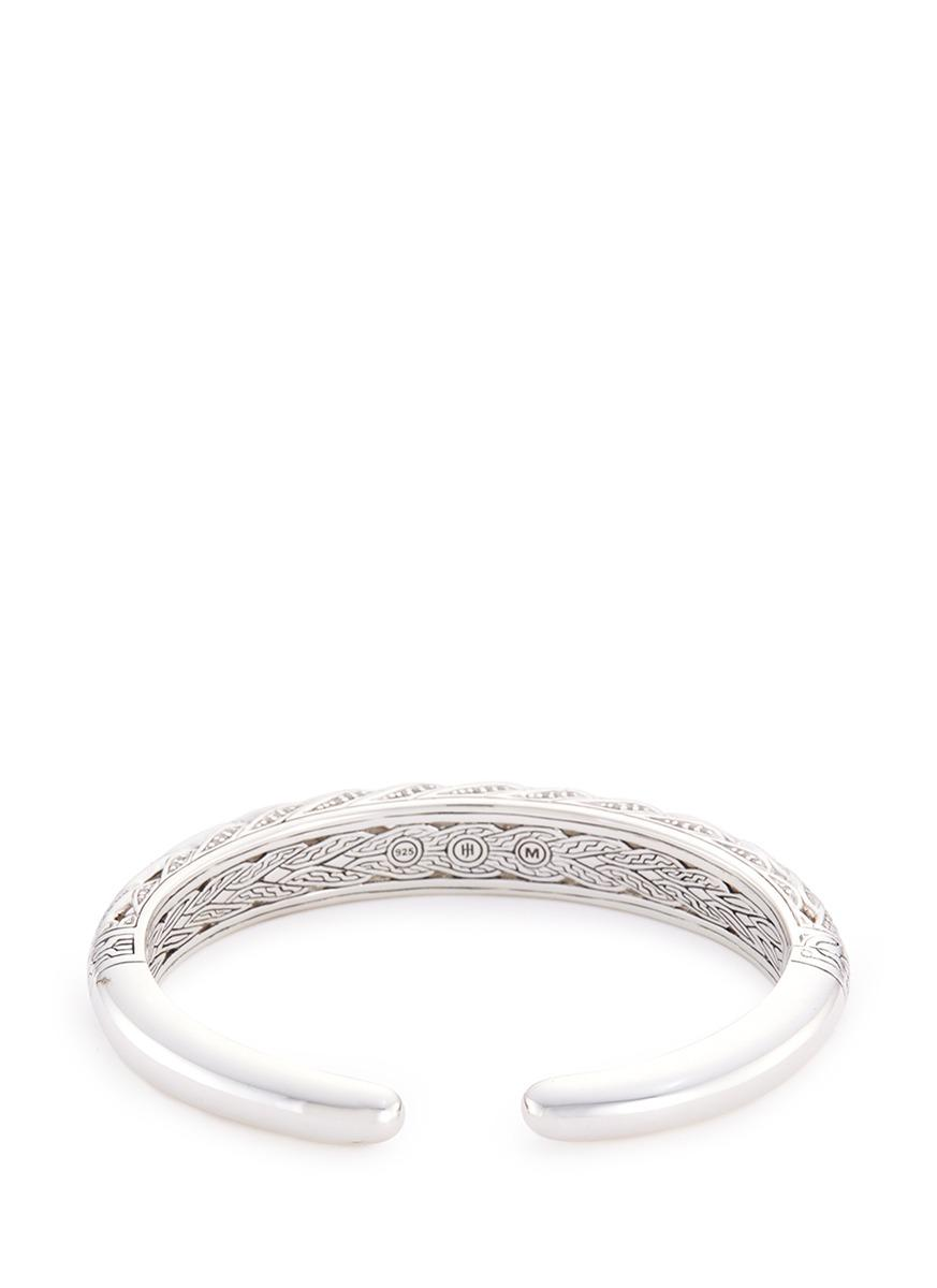 John Hardy Diamond Silver Weave Effect Cuff in Metallic,White (Metallic)