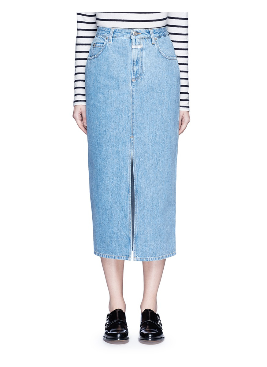 closed clara front slit denim skirt in blue lyst