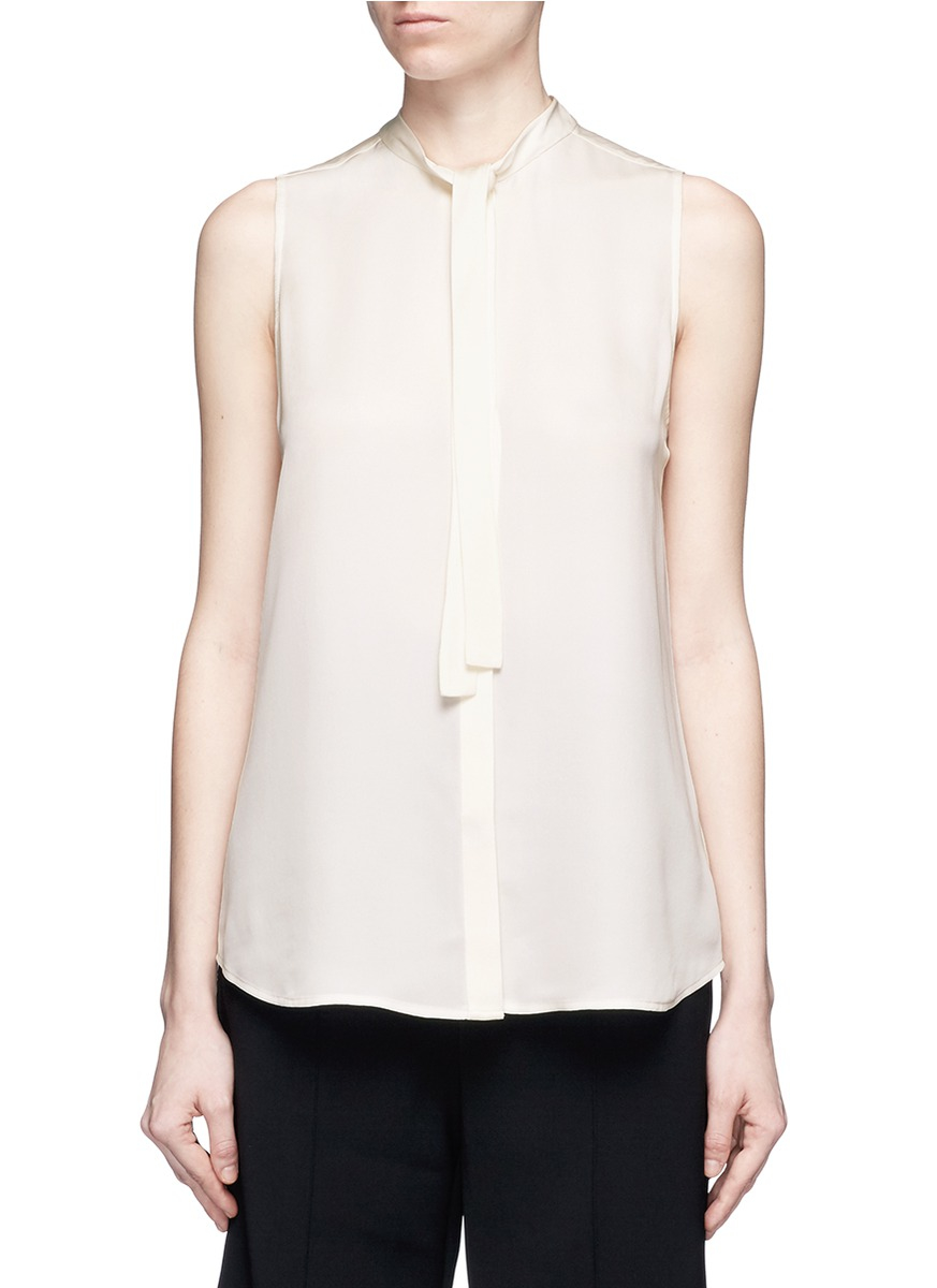 Theory Jazlina Tie Neck Silk Blouse In White Lyst
