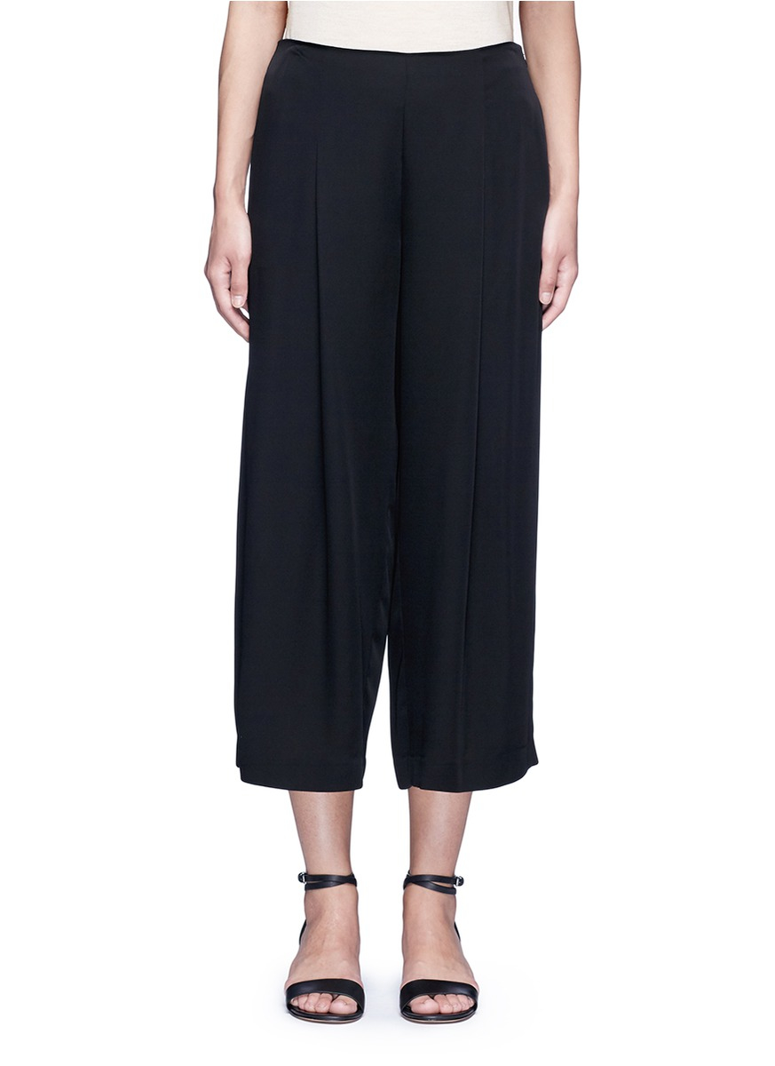 Lyst - Theory 'zavabell' Cropped Relaxed Silk Pants in Black