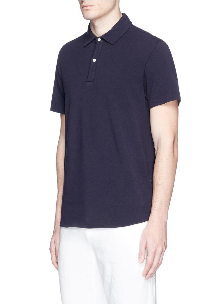 Lyst eidos cotton polo shirt in blue for men for Cotton polo shirts for men