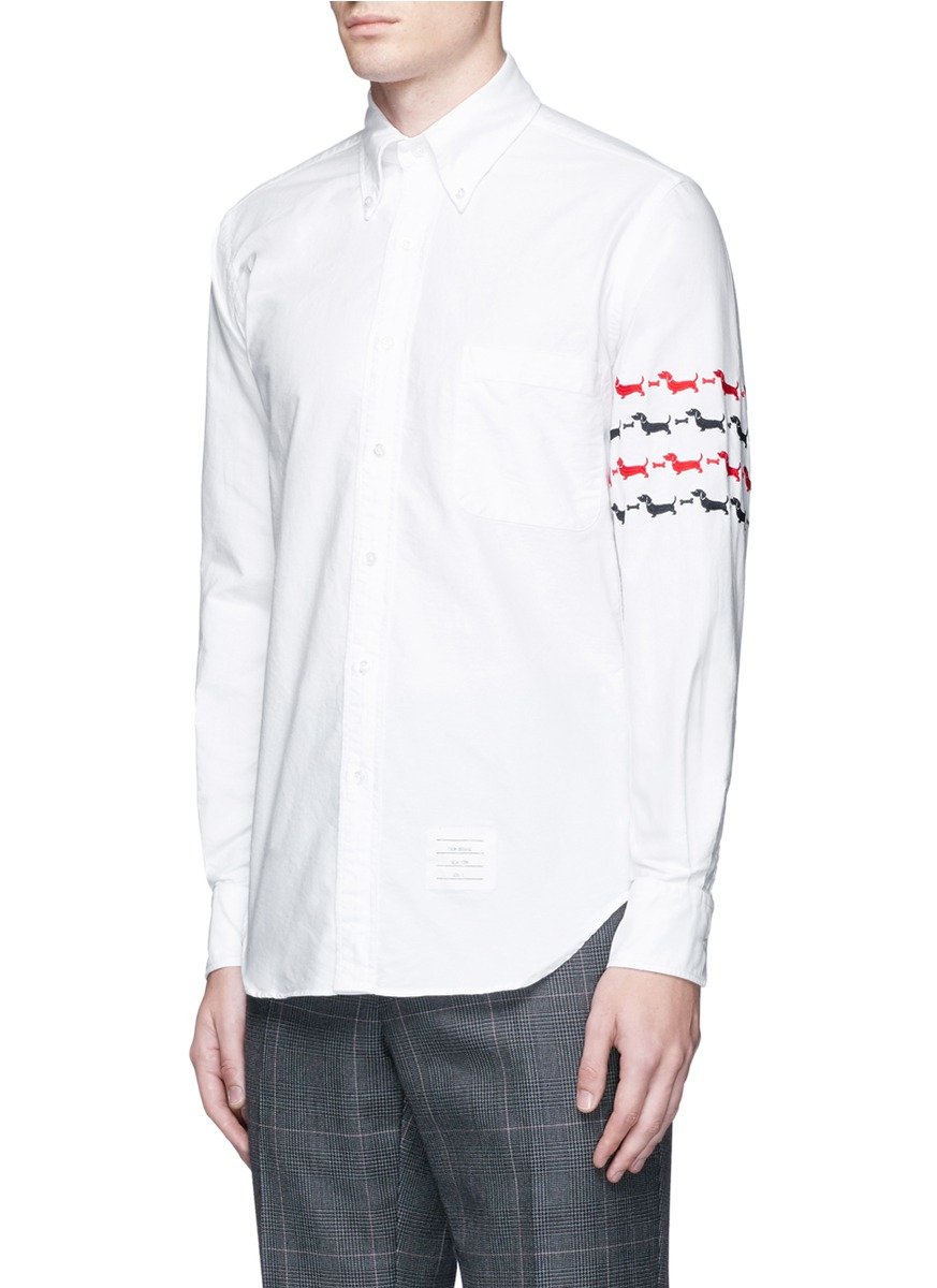 Lyst thom browne white embroidered hector shirt for men for Thom browne white shirt