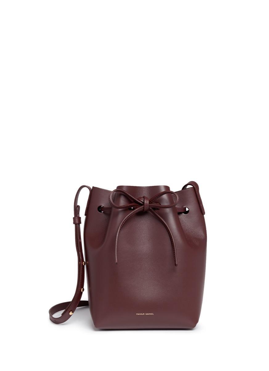 mansur gavriel 39 mini 39 leather bucket bag in red lyst. Black Bedroom Furniture Sets. Home Design Ideas