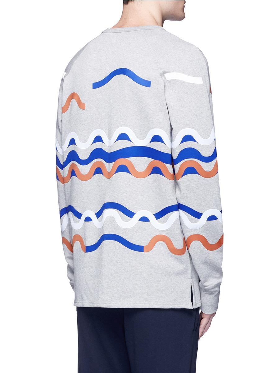 Acne Studios Cotton 'fun Rhythm' Wave Patch Sweatshirt in Grey (Grey) for Men